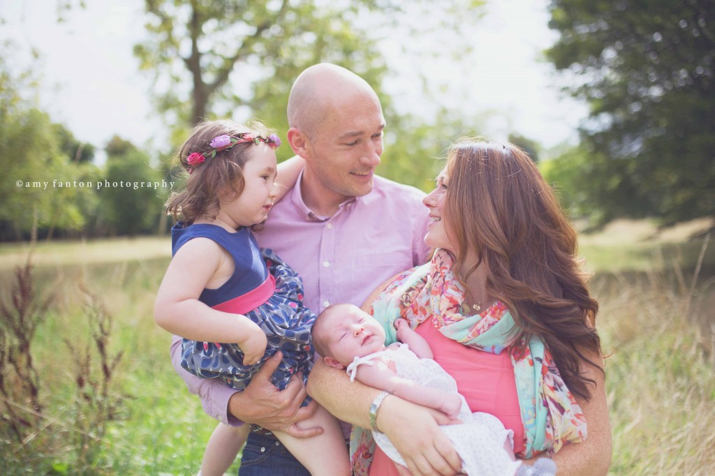 Family photography in london park newborn portrait session